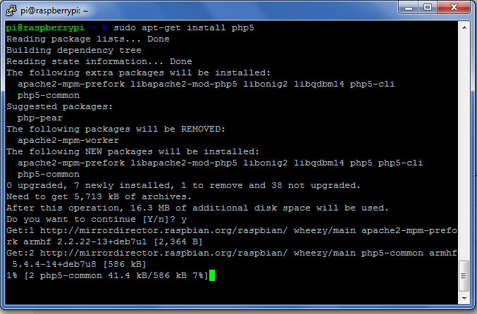 sudo apt-get install php5