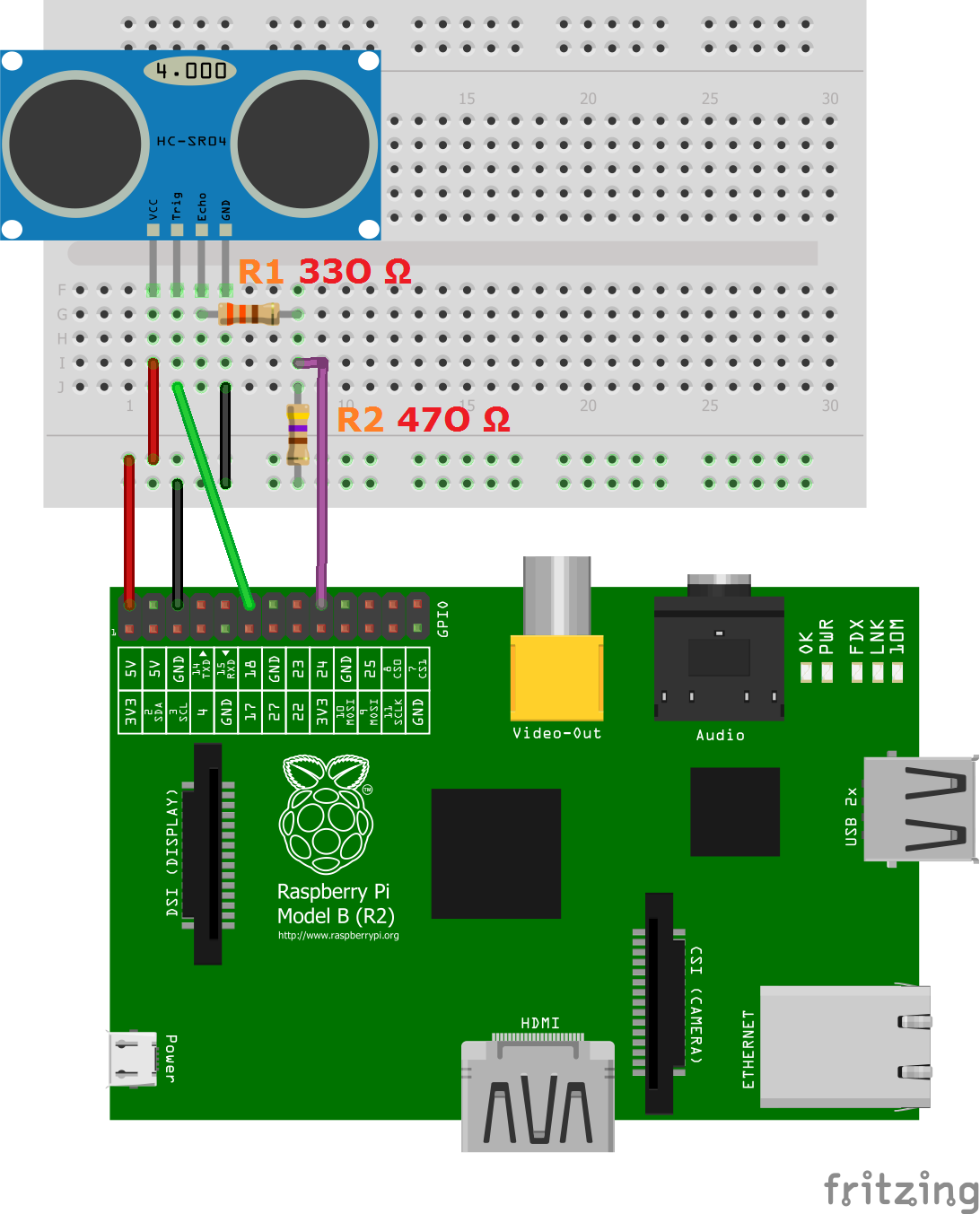 Using A Raspberry Pi Distance Sensor Ultrasonic Hc Sr04 Mag Ic Proximity Switch Wiring Diagram Ultraschall Steckplatine