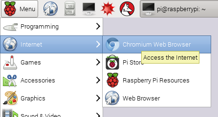 raspberry pi chrome start menu