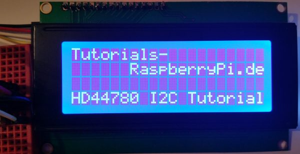 Control a HD44780 LCD display via I2C with the Raspberry Pi