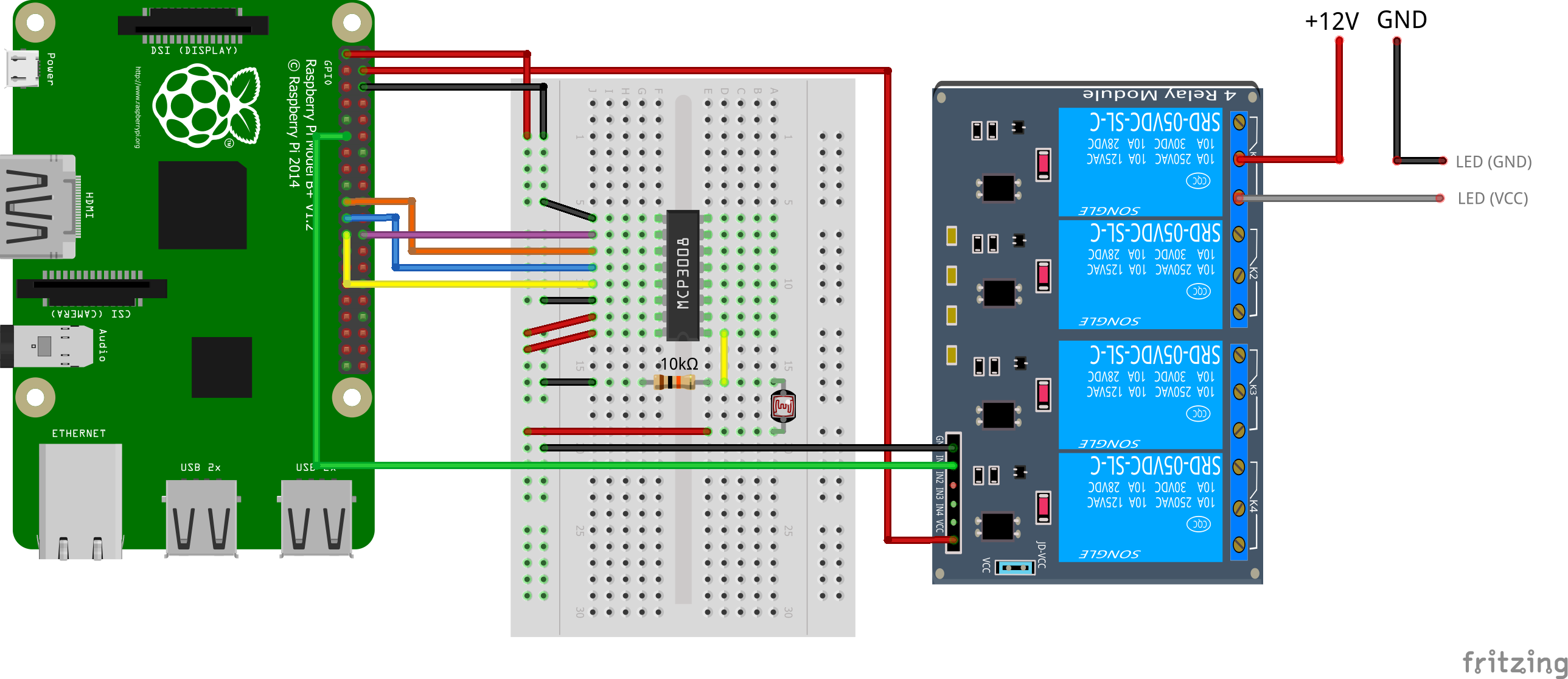 Build Your Own Automatic Raspberry Pi Greenhouse 5v 1 Channel Relay Module Arduino One Of The 8 Channels Is Used For Light Sensor 0 We Connect This Via A Pull Up Resistor As Shown In Figure Also