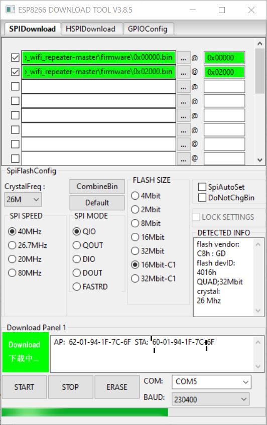 ESP Flasher Configuration - ESP Access Point