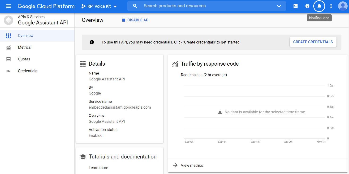 Google Cloud Platform - Overview create credentials