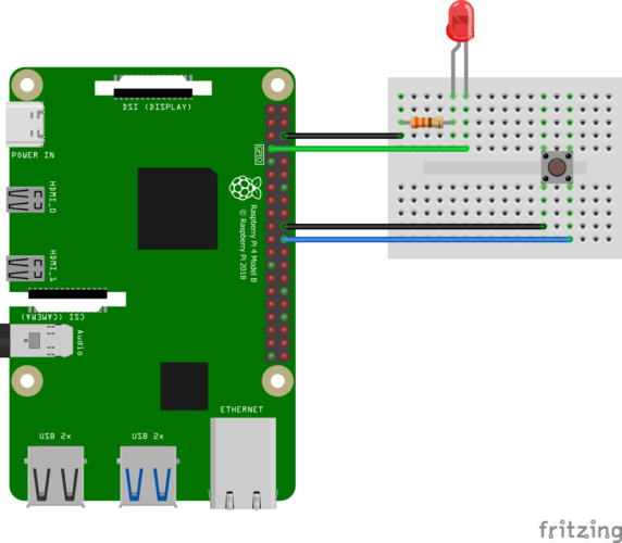 Simple Raspberry Pi LED Button Pullup Pinout (GPIO4 + 25)