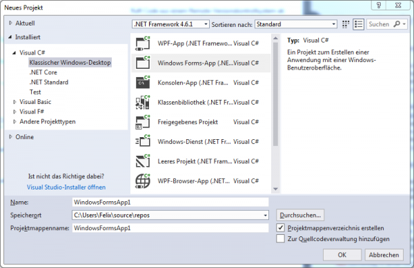 Visual Studio Projekt Screenshot - C# .NET GUI Apps Raspberry Pi